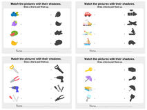 Match object shadow 4 sheet - Worksheet for education Royalty Free Stock Image