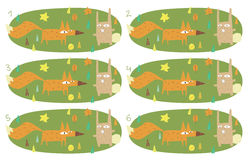 Match Pairs Visual Game: Foy and Rabbit. Task: find two identical images! Answer: 4 and 5. Illustration is in eps8  mode Royalty Free Stock Photo