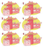 Match Pairs Visual Game: Gifts. Task: find two identical images! Answer: 1 and 6. Illustration is in eps8  mode Stock Photo