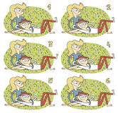 Match Pairs Visual Game: Romance. Task: find two identical images! Answer: 2 and 5. Illustration is in eps8  mode Royalty Free Stock Images