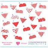 Match the parts of pictures. Of vector hearts Royalty Free Stock Images