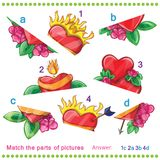 Match the parts of pictures. Of vector hearts Royalty Free Stock Image