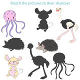 Match the pictures to their shadows child game Royalty Free Stock Photography