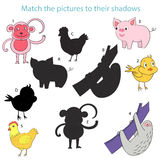 Match the pictures to their shadows child game Royalty Free Stock Photo