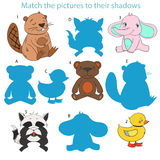 Match the pictures to their shadows child game Stock Photo