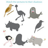 Match the pictures to their shadows child game. Cartoon hand drawn doodle vector illustration Royalty Free Stock Photography
