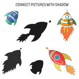 Match the pictures to their shadows child game Royalty Free Stock Images