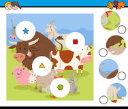 Match pieces activity with farm animals Stock Images