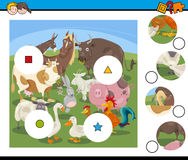 Match pieces game with cartoon farm animals Stock Photography