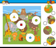 Match pieces game with cartoon wild animals Royalty Free Stock Image