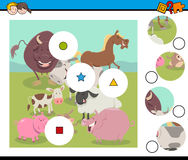 Match pieces game with farm animals Royalty Free Stock Photo