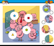 Match pieces game with pigs Royalty Free Stock Image