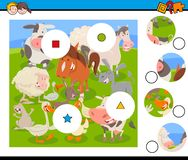 Free Match Pieces Puzzle With Farm Animals Royalty Free Stock Images - 138856709