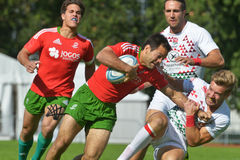 Match for place 1 England vs Portugal in Rugby 7 Grand Prix Series in Moscow Stock Photo