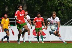Match for place 1 England vs Portugal in Rugby 7 Grand Prix Series in Moscow Royalty Free Stock Images