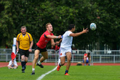 Match for place 7 France vs Belgium in Rugby 7 Grand Prix Series in Moscow Royalty Free Stock Images