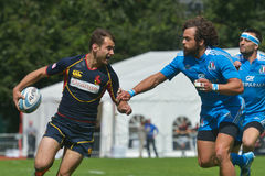 Match for place 9 Italy vs Spain in Rugby 7 Grand Prix Series in Moscow Stock Images
