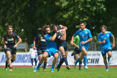 Match for place 9 Italy vs Spain in Rugby 7 Grand Prix Series in Moscow Stock Photo