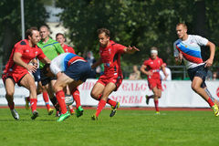 Match for place 5 Russia vs Wales in Rugby 7 Grand Prix Series in Moscow Stock Images