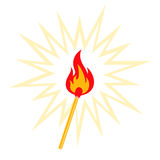 Match. Retro illustration of burning match vector illustration