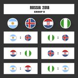 Match schedule, 2018 final draw results table, flags of countries participating to the international tournament in Royalty Free Stock Image