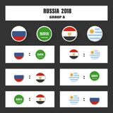 Match schedule, 2018 final draw results table, flags of countries participating to the international tournament in Royalty Free Stock Photos