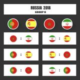 Match schedule, 2018 final draw results table, flags of countries participating to the international tournament in Stock Images