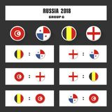 Match schedule, 2018 final draw results table, flags of countries participating to the international tournament in Royalty Free Stock Photography