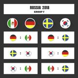 Match schedule, 2018 final draw results table, flags of countries participating to the international tournament in Stock Photography