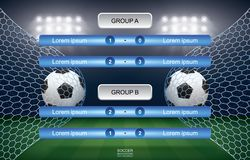 Match schedule of soccer football cup with stadium background. Soccer football tournament schedule. Vector illustration stock illustration
