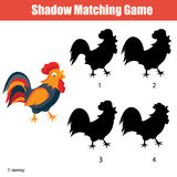 Match the shadow children game, find the correct shadow kids activity. Shadow matching game for kids. Find the right shadow for rooster Royalty Free Stock Photos