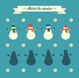 Match the shadow game retro snowmen Royalty Free Stock Photos