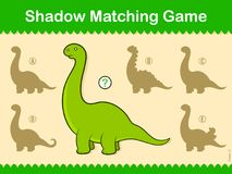 Match the Shadow kids puzzle game with dinosaur. Match the Shadow kids puzzle game with cute cartoon dinosaur and five choices of silhouette, vector illustration Royalty Free Stock Photo