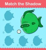 Match the Shadow kids puzzle game with fish. Match the Shadow kids educational puzzle game with colorful fish underwater and five choices of silhouette Stock Photo