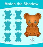 Match the Shadow kids puzzle game with teddy bear. Match the Shadow kids educational puzzle game with cute teddy bear and five choices of silhouette, vector Royalty Free Stock Photo