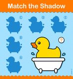 Match the shadow to a little duck in a bathtub. Educational kids puzzle matching the shape of a shadow from a choice of five with variations to a little cartoon Royalty Free Stock Photos