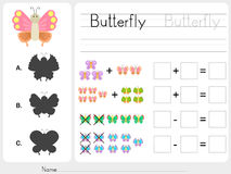 Match shadow - Worksheet for education. Match shadow and addition subtraction - Worksheet for education Stock Images