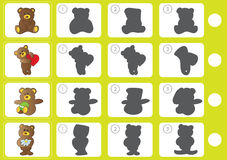 Match shadow - Worksheet for education. Match shadow puzzle - Worksheet for kids - education Royalty Free Stock Photography