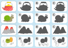 Match the shadow - Worksheet for education Stock Photo