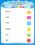 Match shapes kids worksheet Royalty Free Stock Photo