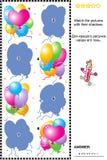 Match som skuggar det visuella pusslet - ballonger Royaltyfria Bilder