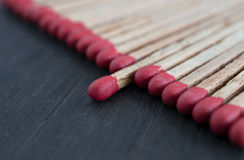 Match standing out from matches leadership concept, Individualit. Y concept Royalty Free Stock Images