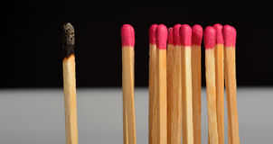 Match Stick. And a  burned Royalty Free Stock Photography