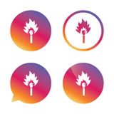 Match stick burns icon. Burning matchstick sign. Fire symbol. Gradient buttons with flat icon. Speech bubble sign. Vector Stock Image