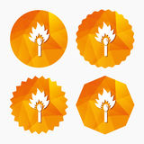 Match stick burns icon. Burning matchstick sign. Fire symbol. Triangular low poly buttons with flat icon. Vector Stock Image