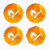 Match stick burns icon. Burning matchstick sign. Fire symbol. Triangular low poly buttons with flat icon. Vector Royalty Free Stock Photography
