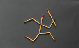 Match stick man running stock photos