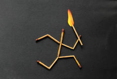 Match stick running with fire on head. Illustration of Match stick man running with fire on head stock photography