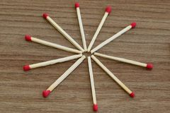 Match stick. Unburnt match stick. Match sticks on wood table. stock image