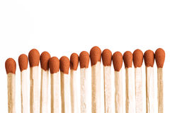 Match Sticks. Extreme Closeup isolated on white background Stock Images